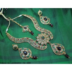 CZ, Ruby & Emerald Stones Peacock Design Haram Set Online