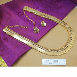 Pearls Stones Golden Finish Lakshmi Coins Design Necklace Set Online