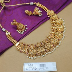 Kempu Stones Lakshmi Design Antique Necklace Set Online