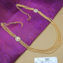 3 Lines Balls Design Chain With Ruby Stones Side Pendants Online
