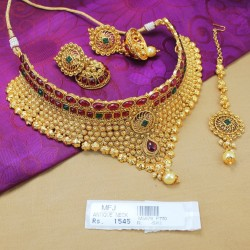 Kempu Stones Antique Designer Choker Necklace Set Online