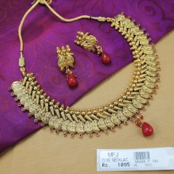 Lakshmi Coins Kempu Stones Antique Designer Necklace Set Online