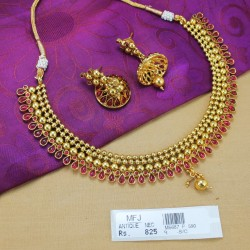 Kempu Stones Balls Design Antique Designer Necklace Set Online