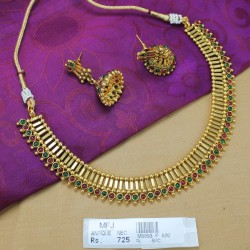 Kempu Stones Antique Designer Necklace Set Online