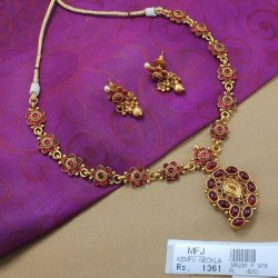 CZ & Ruby Stones Flowers Design Choker Necklace Set Online