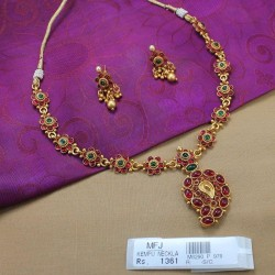 Kempu Stones Flowers & Mango Design Mat Finish Necklace Set Online