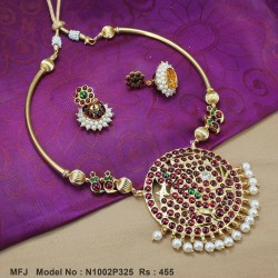 Kempu Stone Traditional Design Necklace -Temple Necklace - Dance Jewellery Online