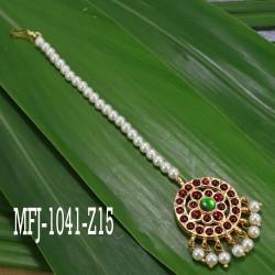 3 Line Pearl Beads Temple Haram - Kempu Stones Pendant - Dance Jewellery Online
