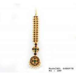 Single Line Pearl Beads Temple Head Set - Kempu Stones Head Set - Dance Jewellery Buy Online