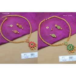 Ruby Stones Mat Finish Mango Design Necklace Set Online