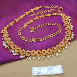 Ruby Stones Pearl Drops Mat Finish Peacock Design Hip Chain Buy Online