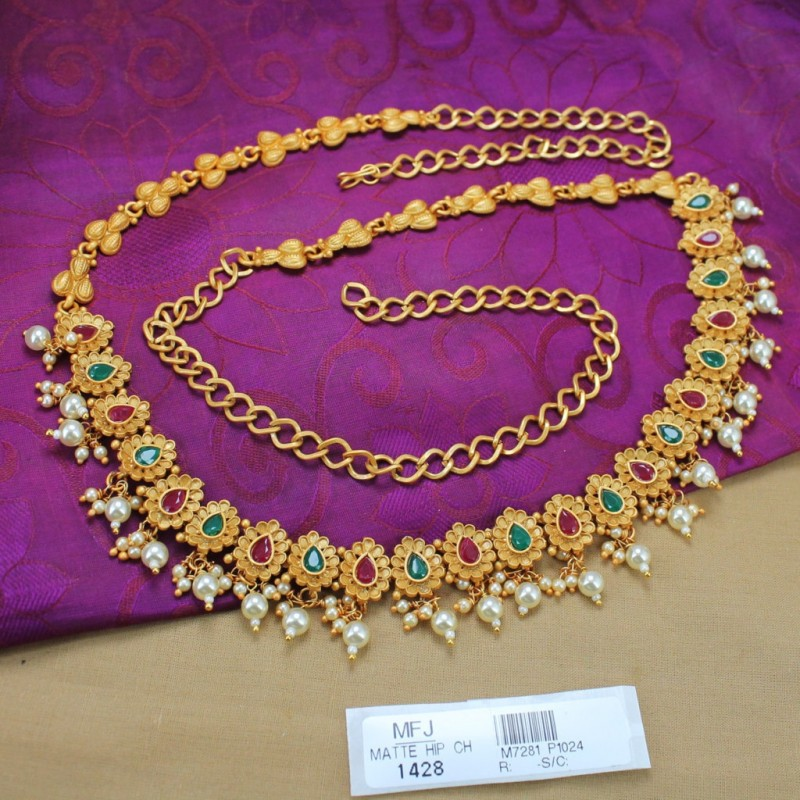 Ruby Stones Pearl Drops Mat Finish Flowers Design Hip Chain Buy Online