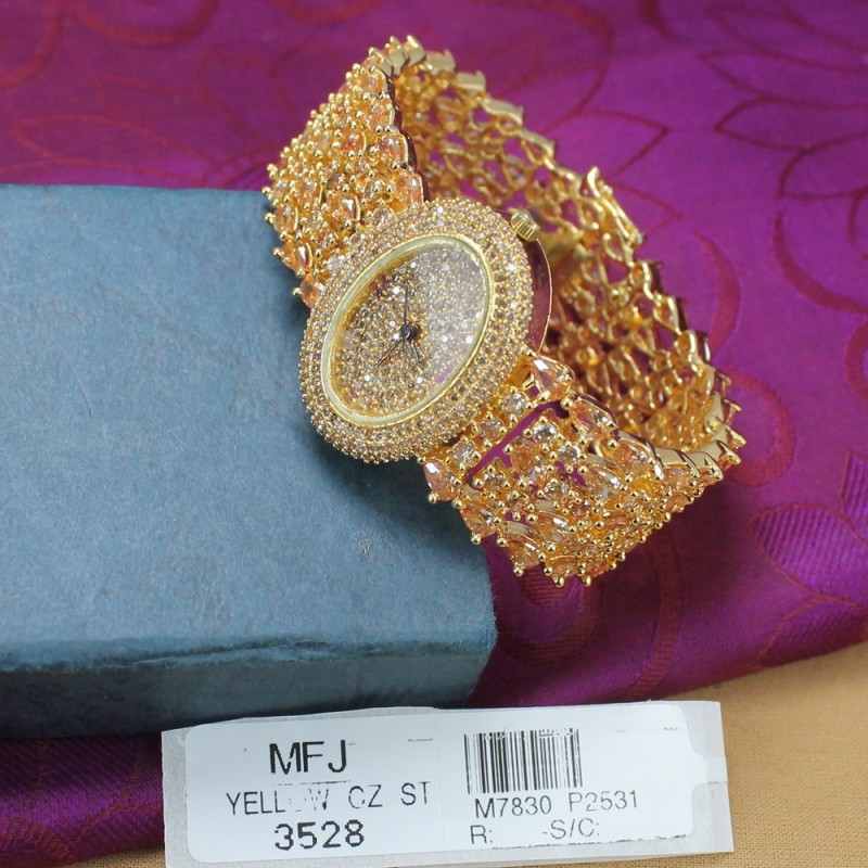 CZ Stones Analog Oval Shaped Dial Gold Plated Finish Watch Buy Online