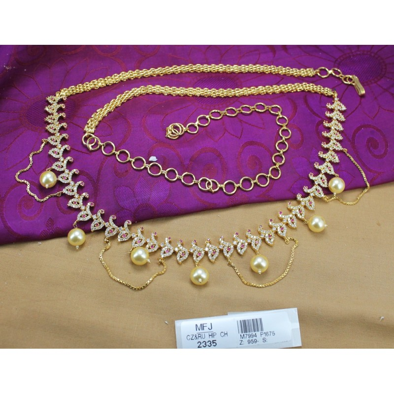 Ruby & Emerald Stones Pearl Drops Mat Finish Flowers Design Hip Chain Buy Online