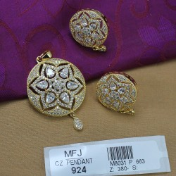 CZ & Ruby Stones Flower Design With Drop Gold Plated Finish Pendant Set Buy Online