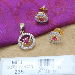 CZ & Ruby Stones Gold Plated Finish Pendant Set Buy Online
