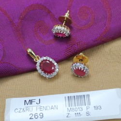 CZ & Ruby Stones Gold Plated & Rhodium Finish Pendant Set Buy Online