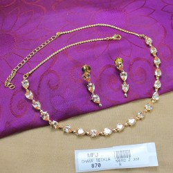 CZ Stones Thilakam Design Gold Plated Finish Necklace Set Buy Online