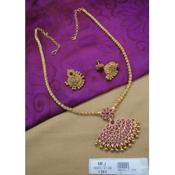 Mat Finish Balls Design Chain With Ruby & Emerald Stones Peacock Design With Golden Ball Drops Mat Finish Pendant Set Buy Online