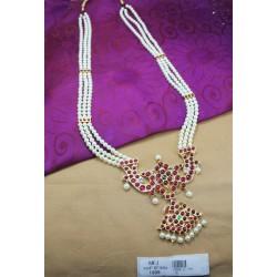 High Quality Kempu Stones Temple Haram - Kempu Stones Haram - Dance Jewellery Online