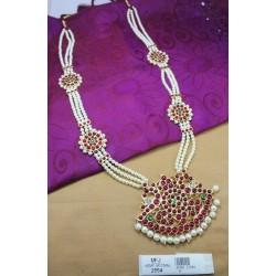 High Quality Kempu Stones Temple 3 Lines Pearls Haram - Kempu Stones Haram - Dance Jewellery Online