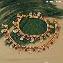 Ruby & Emerald Stones Flowers Design With Pearl Drops Mat Finish Anklet Set Buy Online