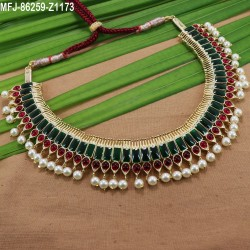 High Quality Kempu Stones Traditional Mango Design Necklace - Temple Necklace - Dance Jewellery Buy Online