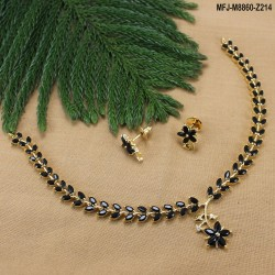 Emerald Stones Flowers & Leaves Design Gold Plated Finish Necklace Set Buy Online