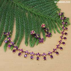 Ruby & Emerald Stones Thilakam & Leaves Design Gold Plated Finish Necklace Set Buy Online