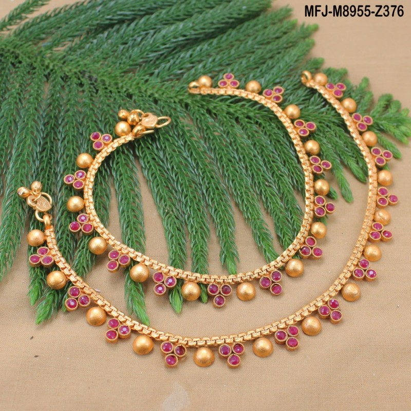 Ruby & Emerald Stones Designer Mat Finish Anklet Set Buy Online