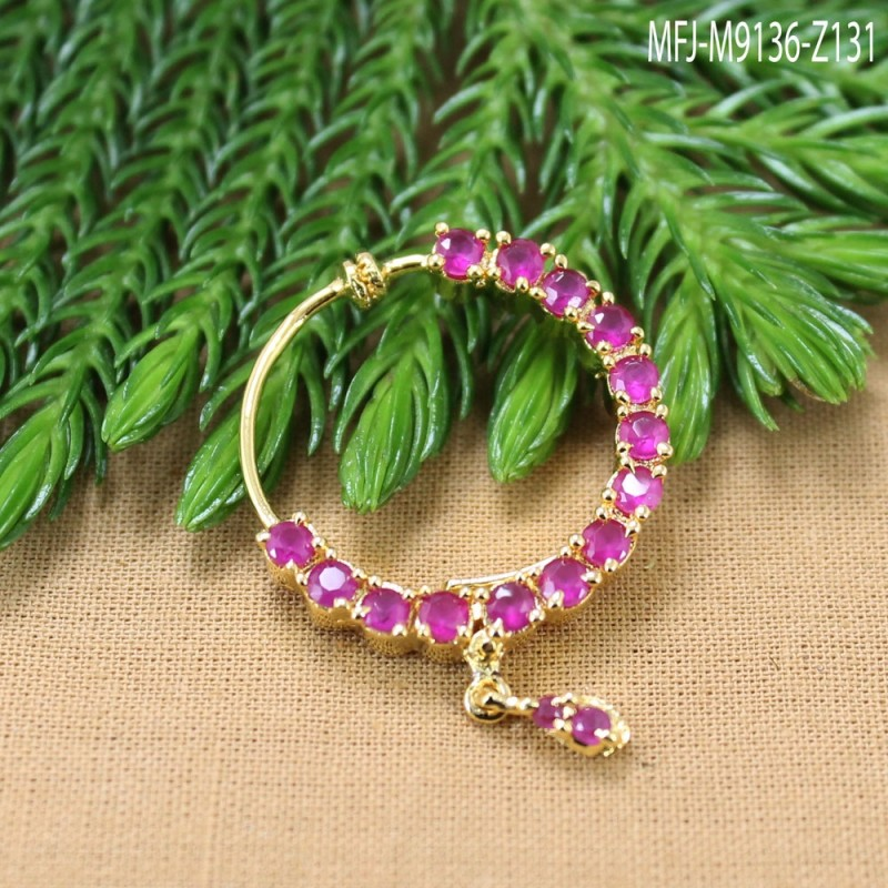 CZ Stones With CZ Drop Gold Plated Finish Nose Pin Online