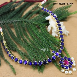 Dark Blue & Kempu Stones Single Line & Flower Design With Pearls Drops Gold Plated Finish Necklace Buy Online