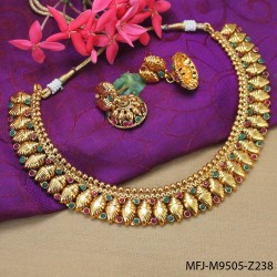CZ, Ruby & Emerald Stones Peacock, Flowers & Leaves Design Mat Finish Necklace Set Buy Online