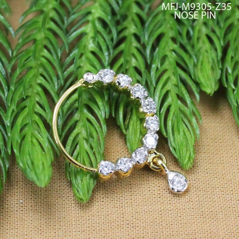 CZ Stones With CZ Drop Gold Plated Finish Nose Pin Buy Online