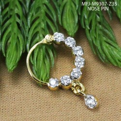 CZ Stones With CZ Drop Gold Plated & Rhodium Finish Nose Pin Buy Online
