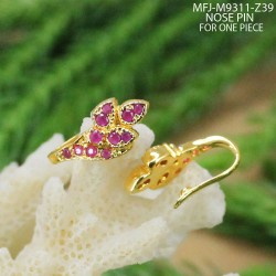 CZ Stones Leaves Design Gold Plated Finish Nose Pin Buy Online