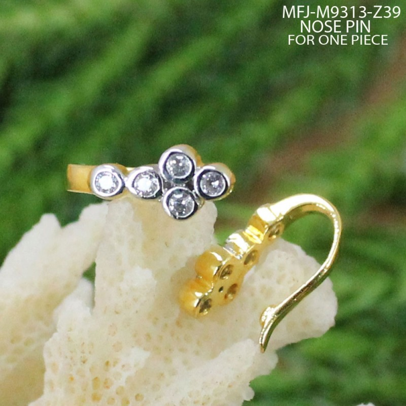 CZ Stones Designer Gold Plated Finish Nose Pin Buy Online