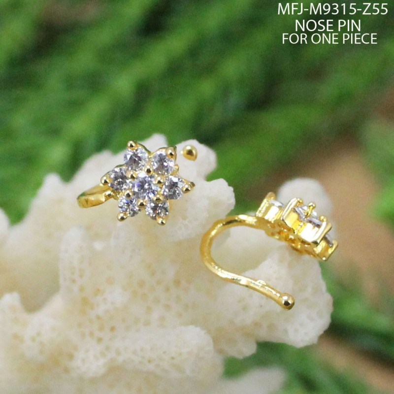 CZ Stones Flower Design Gold Plated Finish Nose Pin Buy Online