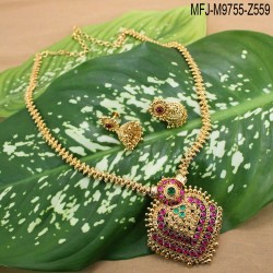 Gold Plated Finish Balls & Beads Design Chain With Ruby & Emerald Stones Thilakam Design Pendant Buy Online