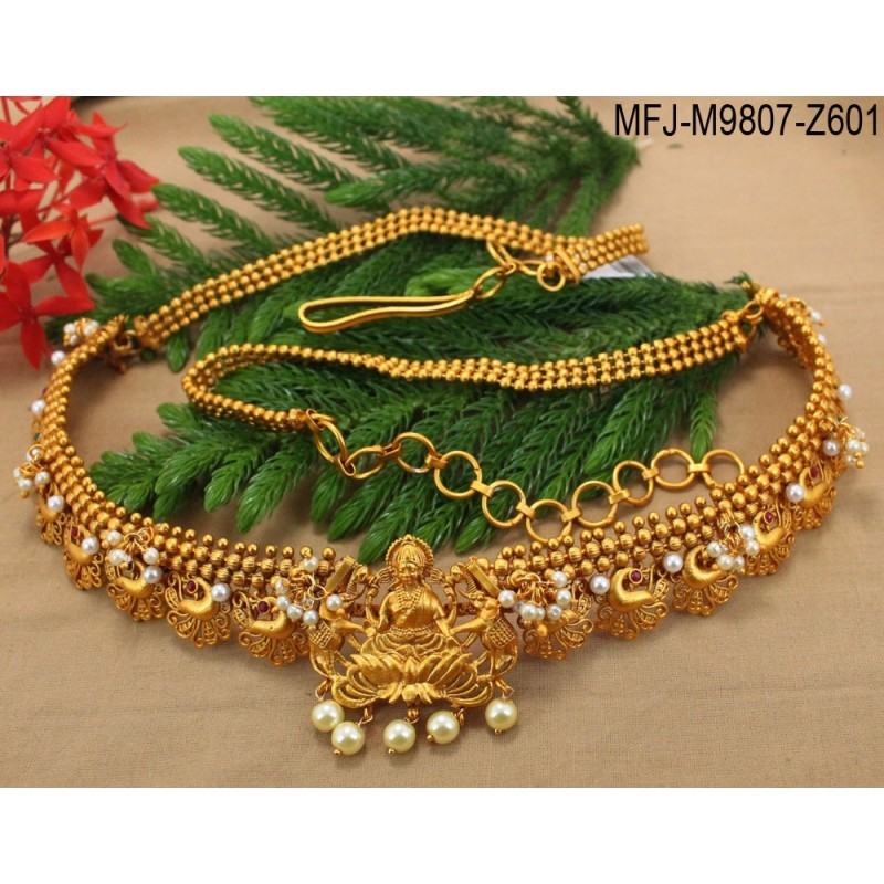 Ruby & Emerald Stones With Pearls Lakshmi & Peacock Design Mat Finish Hip Chain Buy Online