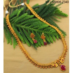 Ruby & Emerald Stones Peacock & Flowers Design With Emerald Drop Mat Finish Haram Set Buy Online
