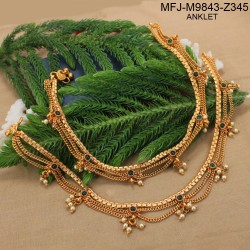 Ruby & Emerald Stones With Pearls Drops Three Lines Designer Mat Finish Anklet Set Buy Online