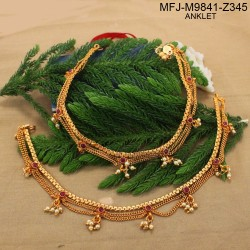 Kempu Stones With Pearls Drops Three Lines Designer Mat Finish Anklet Set Buy Online