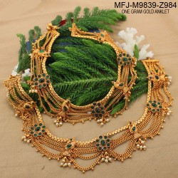 1 Gram Gold Dip Kempu Stones With Pearls Drops Peacock, Five Lines & Flowers Design Anklet Set Buy Online