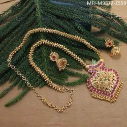 Gold Plated Finish Designer Chain With Ruby & Emerald Stones Heart & Flower Design Pendant Set Buy Online