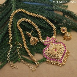 Gold Plated Finish Designer Chain With Ruby & Emerald Stones Designer Pendant Set Buy Online