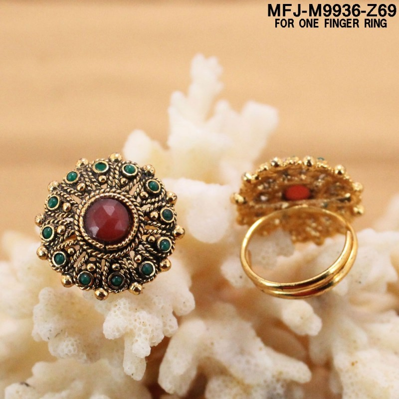CZ Stones Designer Gold Plated Finish Finger Ring Buy Online