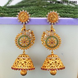 CZ & Ruby Stones Peacock, Flowers & Leaves Design With Drops Mat Finish Jumki Buy Online