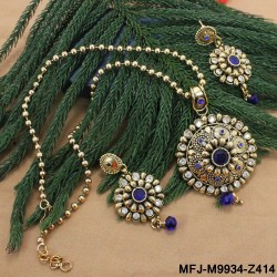 Mat Finish Designer Chain With CZ, Ruby & Emerald Stones Peacock & Flowers Design Pendant Set Buy Online