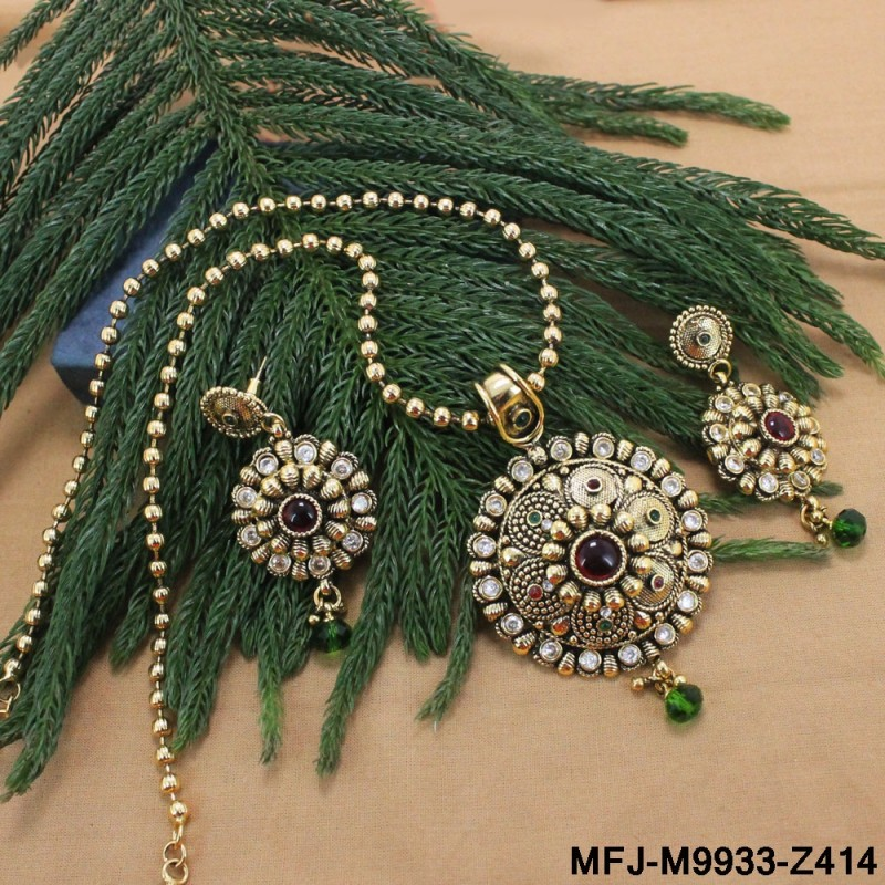 Antique Balls Design Chain With Kundan & Dark Blue Colour Stones Flowers Design Pendant Set Buy Online